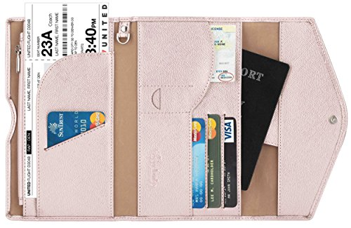 Travelambo Rfid Blocking Passport Holder Wallet & Travel Wallet Envelope 7 Colors (rose gold) (Wallet Purse Holder)