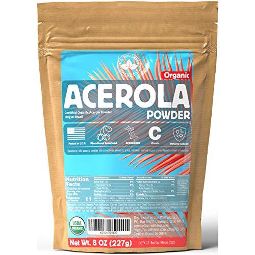 ACEROLA Powder 8oz | Certified Organic Acerola Cherry Powder | Immune System Booster | Natural Vitamin C SUPERFOOD | Blend for Shakes, Baking, Mixing Drinks, Vegan - 70 Servings