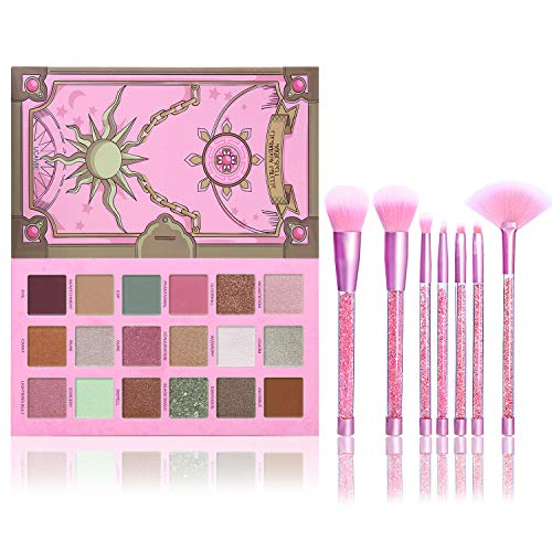 UCANBE Magic Spell Eyeshadow Palette With Soft Nylon Hair Quicksand Brushes Makeup Set Pigmented Shimmer Matte Pressed Metallic Glitter Pink Green Nude Blendable Eye Shadow Brush Bundle Kit