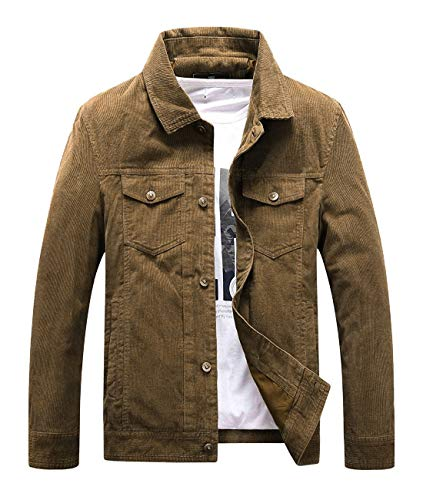 (Chartou Men's Vintage Button-Front Slim Fit Corduroy Denim Jacket (Large, Khaki))