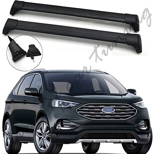 king of car tuning Ultra Quiet Black Lockable Crossbar Cross Bar Roof Rail Luggage Rack Fits for Ford Edge 2015-2019
