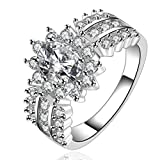 SunIfSnow Beautiful Girls Crystal Geometric 925 Silver Plated Rings 8