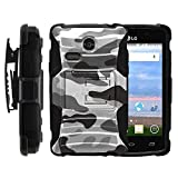 MINITURTLE Case Compatible w/ LG Lucky Case, LG Lucky Holster, Two Layer Hybrid Armor Hard Cover w/ Built in Stand for LG Sunrise L15G, LG Lucky L16C (Straight Talk, TracFone, Net10) from MINITURTLE | Includes Screen Protector Gray Camouflage