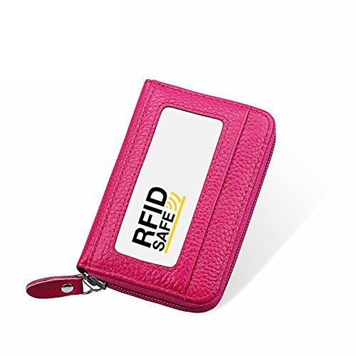 Hibate RFID Block Genuine Leather Credit Card Case Holders Women Travel Wallet - Pink