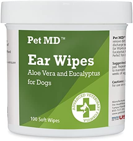 Pet MD – Dog Ear Cleaner Wipes – Otic Cleanser for Dogs to Stop Ear Itching, and Infections with Aloe and Eucalyptus – 100 Count