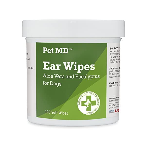 Pet MD - Dog Ear Cleaner Wipes - Otic Cleanser for Dogs to Stop Itching, Yeast and Mites with Aloe and Eucalyptus - 100 Count 1