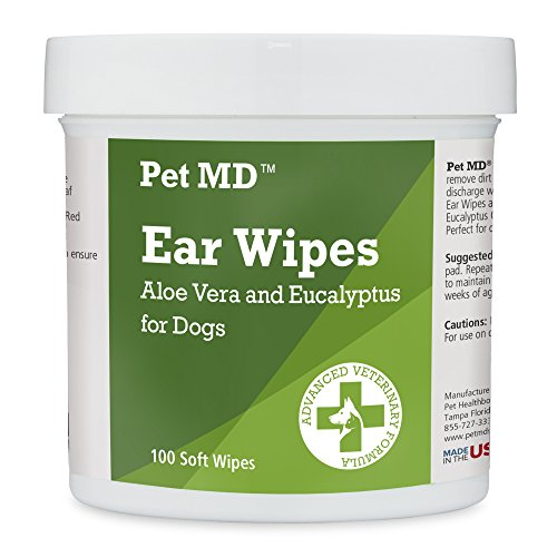 Pet MD - Dog Ear Cleaner Wipes - Otic Cleanser for Dogs to Stop Itching, Yeast and Mites with Aloe and Eucalyptus - 100 Count (Best Ear Powder For Dogs)
