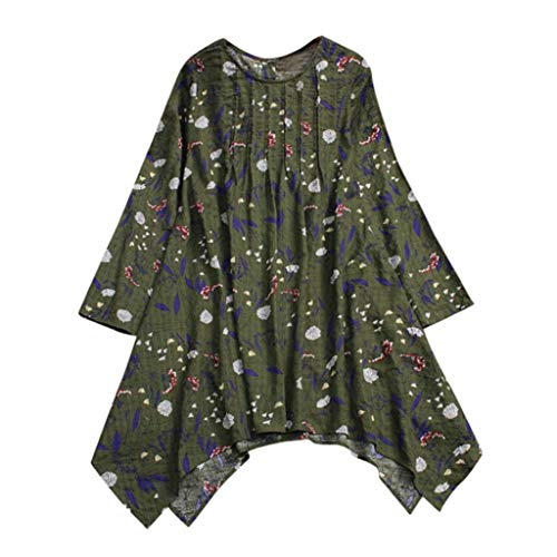 Clearance Sale ! Women Tops Vintage Floral Print Folded Long Sleeve Irregular Blouse T-Shirts ❤️ ZYEE ()