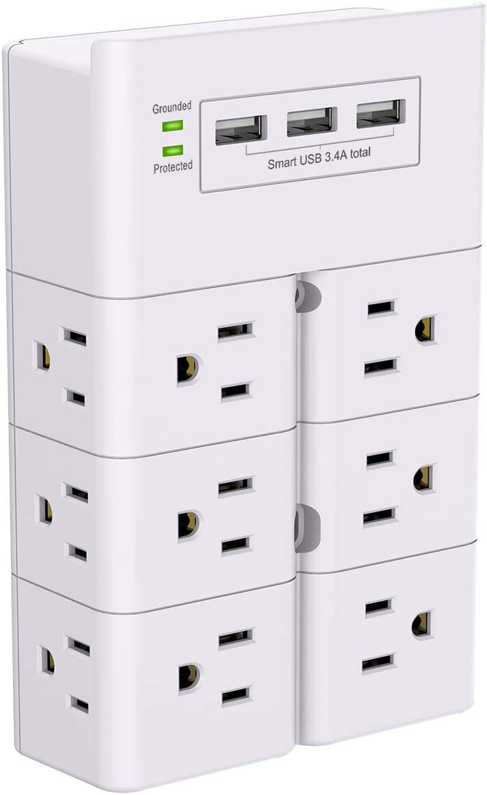 USB Wall Charger, Outlet Splitter , Surge Protector with 12-Outlets Extender and 3 USB Ports( 3.4A Total),Multi Plug Outlet for Home, Office, Hotel, Cruise Ship Accessories,Dorm Essentials-White