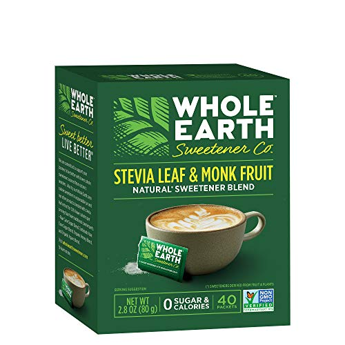 WHOLE EARTH SWEETENER CO. Stevia & Monk Fruit Sweetener, Erythritol Sweetener, Sweet Leaf Stevia Packets, Sugar Substitute, Natural Sweetener, 40-Count (Pack of 12)