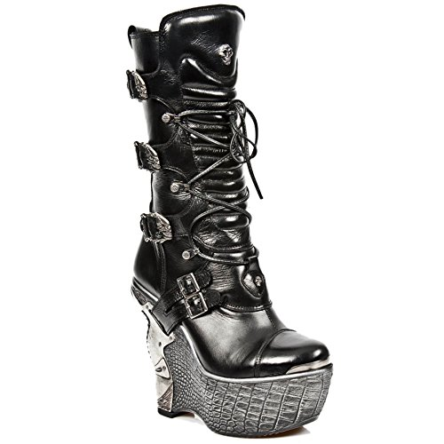 Smart Range New Rock MPZ003-S4 Black Gothic Ladies Leather Lace Up Wedge Heel Boots clearance pay with visa wiki online pz800MD