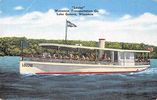 Lake Geneva Wisconsin Transportation Co Louise Ship Vintage Postcard JF360155