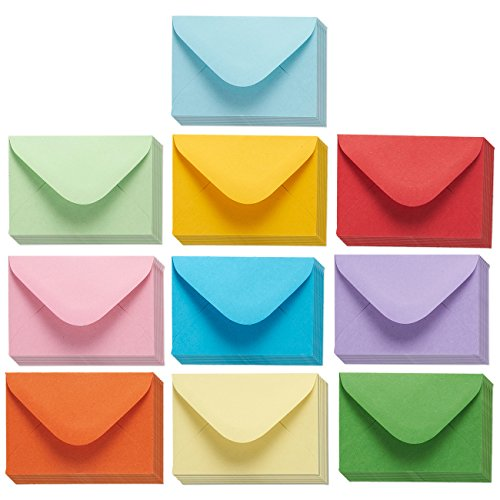 Postcard Holders Sleeves - 100 Pack Mini Envelopes - Bulk Gift Card Envelopes - Business Card Envelopes - Value Pack Classic Flap Envelopes - 4 x 2.7 inches - 100 Count, 10 Assorted Colors