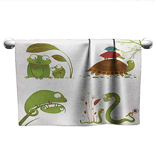 Bensonsve Towel Reptile,Reptile Family Colorful Baby Collection Snake Frog Ninja Turtles Love Mother,Green Brown Red,t Shirt Towel for Curly Hair
