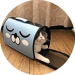 Portable Pet Backpack Messenger Carrier Bags Cat Shoulder Bag Outdoor Travel Breathable Small Pet Handbag,Blue,L42xW21xH30cm