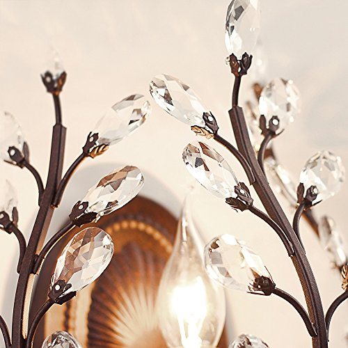 European Luxury Olive Branch Carved Iron Crystal Wall Lamp American Country Living Room Bedroom Bedside Aisle Creative Retro E14 Wall Light (Black / Bronze) ( Color : Black ) by WEID Light (Image #3)