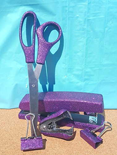 Purple Office Supplies: Purple Extra Fine Glitter Desk Stapler, Scissors, 2 Binder Clips (32mm), and Stapler Remover Set, (Your Choice of Color) by Maegen's Glitz and Glam LLC