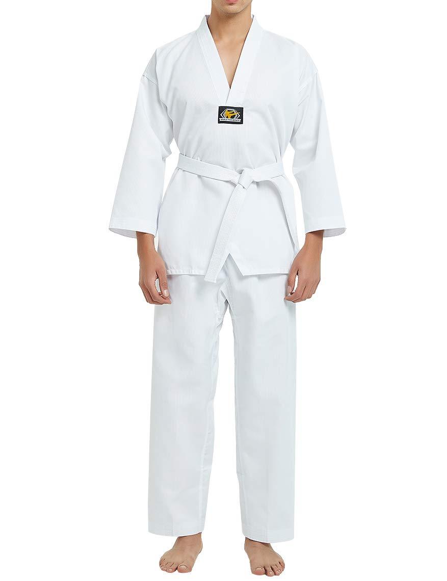 TOPTIE Martial Arts Suit 7.5 Oz Taekwondo TKD Dobok Student Uniform with White Belt-White Trim-Size 0000 by TOPTIE