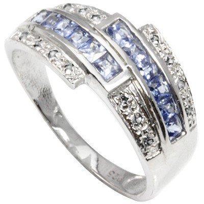 Anillo de compromiso de plata de ley 925 para mujer, con piedra azul tanzanita natural