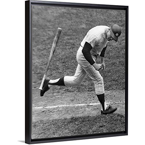 (Floating Frame Premium Canvas with Black Frame Wall Art Print Entitled Mickey Mantle of The New York Yankees 12