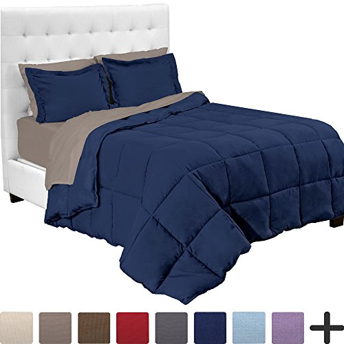 Set 5 Piece Down (5-Piece Bed-In-A-Bag - Twin XL Extra Long (Comforter Set: Dark Blue, Sheet Set: Taupe))