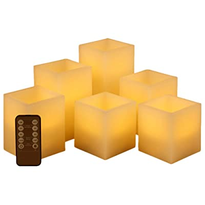 "Flickering Flameless Candles Battery Operated, Led Candle Set of 6 (D 3"" x H 3"" 4"" 5"" 6"") Square Ivory Wax and Amber Yellow Flame, auto-Off Timer Remote Control, Large Fake Battery Powered Candles: Home Improvement"