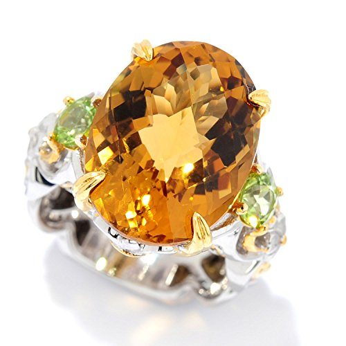 Checkerboard Cut Citrine Ring (Michael Valitutti Palladium Silver Checkerboard Cut Citrine & Peridot Three-Stone Ring)
