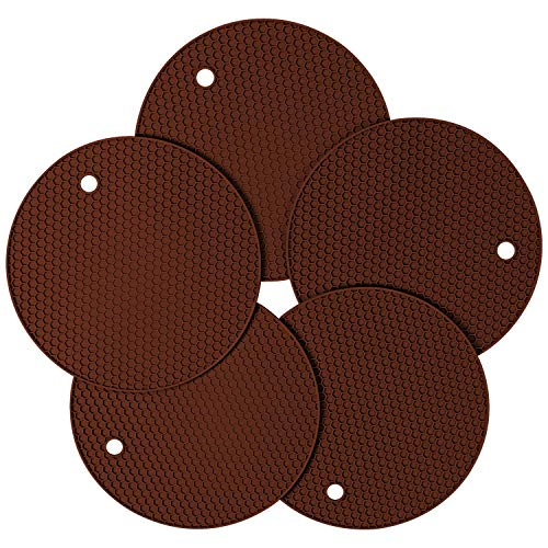 Silicone Pot Holder and Oven Mitts, Multipurpose Non-slip Insulation Honeycomb Rubber Hot Pads Trivet, Heat Resistant Antislip Place Mat, Pack of 5 (Coffee Brown) by wonlex
