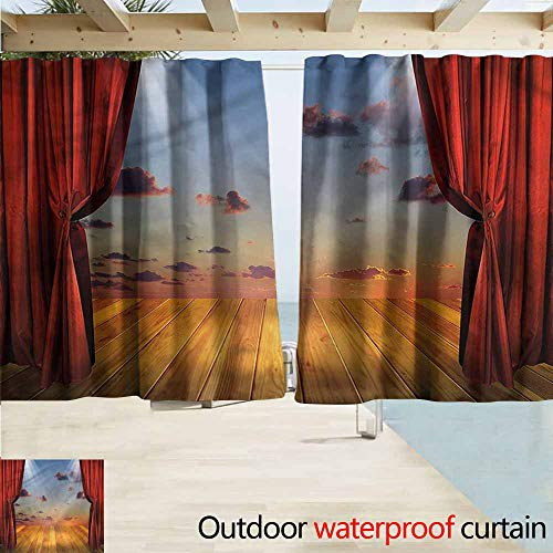 Beihai1Sun Balcony Curtains Musical Theatre Stage with Drapes Darkening Thermal Insulated Blackout W72x45L Inches