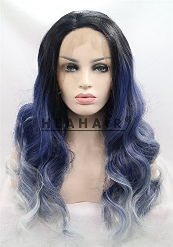 Heahair Ombre Curly Dark Blue to Gery Silver Handtied Wave Synthetic Lace front Wigs