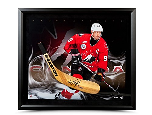 WAYNE GRETZKY Autographed Easton Stick Blade with Ice Cold Photo Framed UDA LE 99