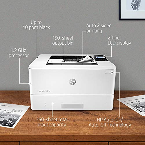 HP LaserJet Pro M404dn Monochrome Laser Printer with Built-In Ethernet & Double-Sided Printing, Works with Alexa (W1A53A)
