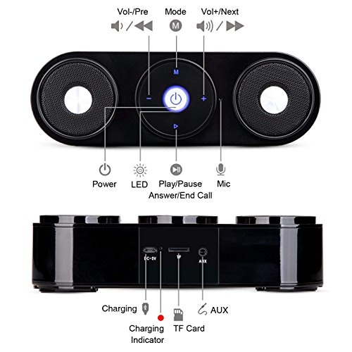 Bluetooth Speakers, ZENBRE Z3 10W Wireless Computer Speakers with 20h Playtime, Portable Speaker with Dual-Driver Enhanced Bass Resonator (Black) by ZENBRE (Image #6)