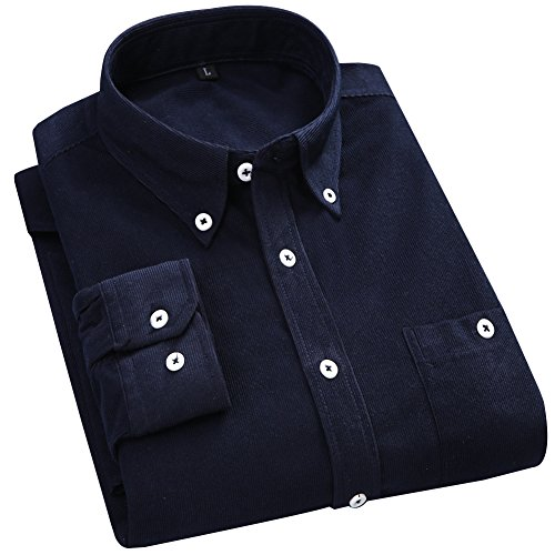 Blue Striped Camp Shirt (XI PENG Men's Casual Long Sleeve Jacket Cord Corduroy Slim Fit Camp Shirt (Navy Blue, Large))