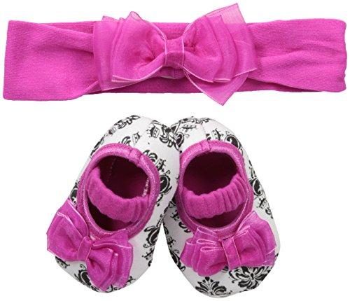 Lovespun Baby 2 Pc Headband and Crib Shoe Set, Damask, One Size