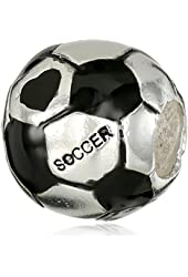 CHARMED BEADS Sterling Silver Soccer Ball Bead Charm