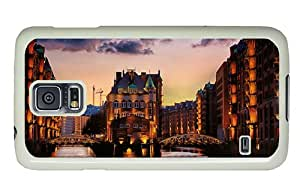 Diy leather Samsung i9600 cover Water city dusk views PC White for Samsung S5,Samsung Galaxy S5,Samsung i9600