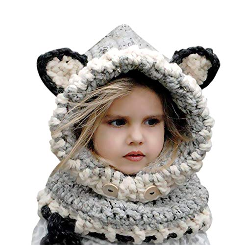 BicycleStore Kids Winter Hat, Baby Girls Boys Knit Hats Scarf Warm Fox Animal Caps Hood Scarves Earflap Snow Neck Warmer Cap with Ears for Autumn Winter (2-6 Years Old)
