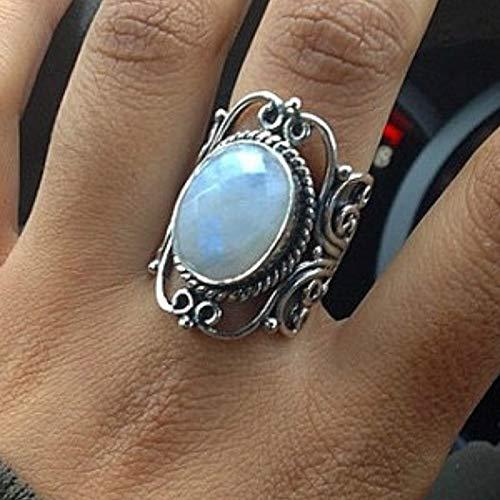 maledery Antique Jewelry Rainbow Moonstone Ring Wedding Ring