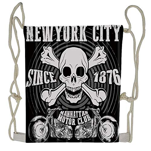 WATINCFlagHomegg Skull Decor New York City Motorcycle Since 1876 Unisex Drawstring Backpack Drawstring Backpack Bag Beam Mouth Rucksack Shoulder Bags