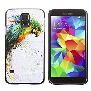 Licase Hard Protective Case Skin Cover for Samsung Galaxy S5 - Color Splatter Color Parrot