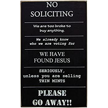 Amazon Com No Soliciting Sign For Indoor Or Outdoor Use