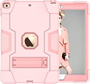Cantis iPad 8th Generation Case,iPad 7th Generation Case,iPad 10.2 2020/2019 Case,Slim Heavy Duty Shockproof Rugged Protective Case with Built-in Stand for iPad 10.2 inch 2020/2019 (rose gold)