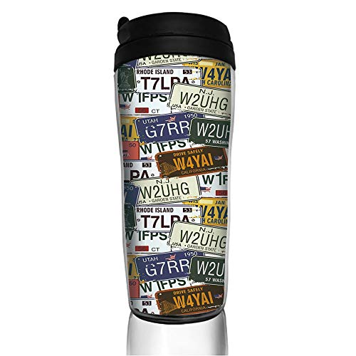 - Stainless Steel Insulated Coffee Travel Mug,Plates Utah Washington Rhode Island North,Spill Proof Flip Lid Insulated Coffee cup Keeps Hot or Cold 11.8oz(350 ml) Customizable printing