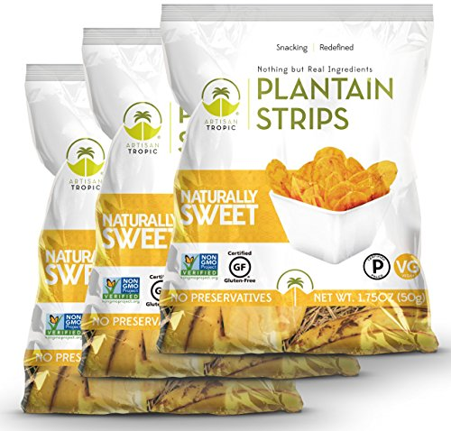 Artisan Tropic Plantain Strips Naturally Sweet - Your Tasty and Healthy Snack Alternative - Paleo, Gluten Free, Vegan, Non-GMO - Made With Sustainable Palm Oil and No Added Sugar 1.75 Oz (3 Pack)