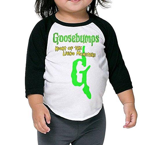 Gilles Kids Goosebumps 3/4 Sleeve T-Shirt Raglan Jersey Black 2 Toddler
