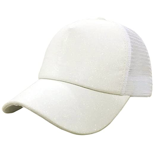 57c055c92fb CSSD Stylish Women Ponytail Baseball Cap Shiny Snapback Hat Sun Caps  Breathable Adjustable Hats (White