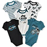 Calvin Klein Baby Boys' Assorted Short Sleeve Bodysuit, Black/Blue, 0-3 Months (Pack of 5)