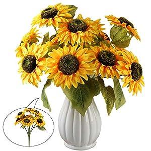 Aonewoe 2 Bouquets Artificial Sunflower 14 Heads Fake Sunflower Bouquet Yellow Silk Sunflower Stems for Vase Wedding Floral Arrangement Home Decor