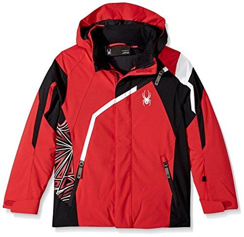 (Spyder Boy's Challenger Ski Jacket, Red/Black/White, Size 14)